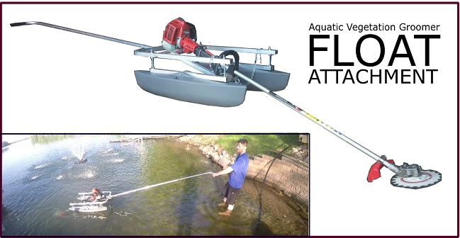 Float attachment for avg aquatic weed cutting machine